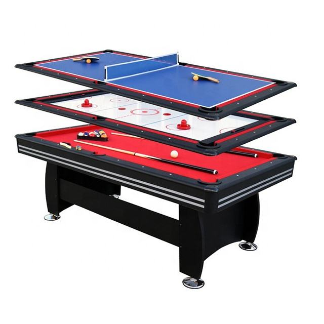 6FT and 3 In 1 Game Function Billiard Pool Table W Air Hockey and Ping Pong Top
