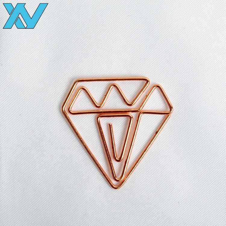 Shiny rose golden color plated diamond design metal paper clips popular gifts for girl