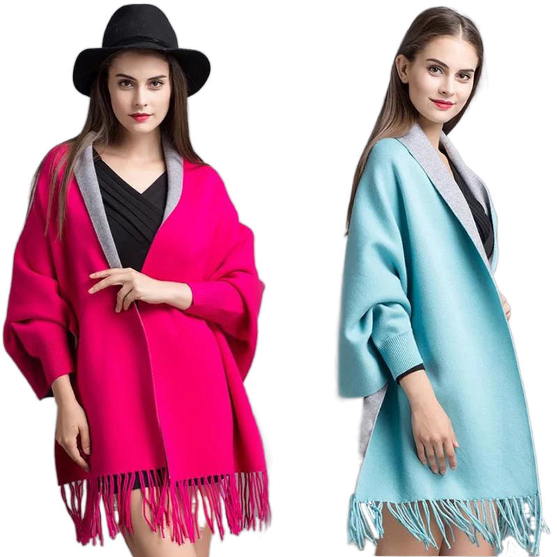 Cheap Price winter shawl with tassels Hot sale double size shawl with sleeves for women high quality pashmina shawl in stock