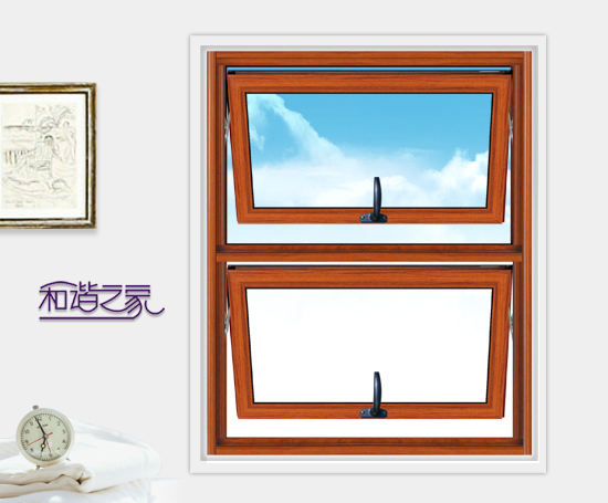 Yifa double hung replacement windows aluminium wood grain finish aluminum windows double glassed single hung aluminium widows