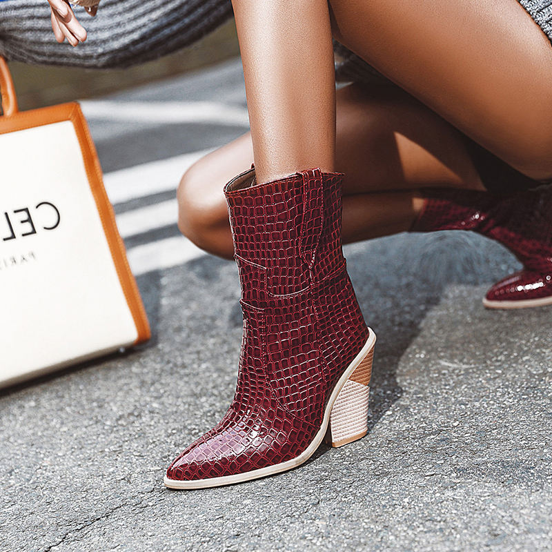 Fashion Solid Color Ankle Boots Women's Faux Leather Thick Heel Shoes Pointed Toe Ankle Booties