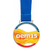 3D bronze electroplated medal marathon running metal medal with ribbon