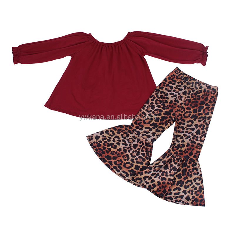hotsale children ruffle Tunic and ruffle pants outfit spring teen girl Top cotton leopard clothing sets