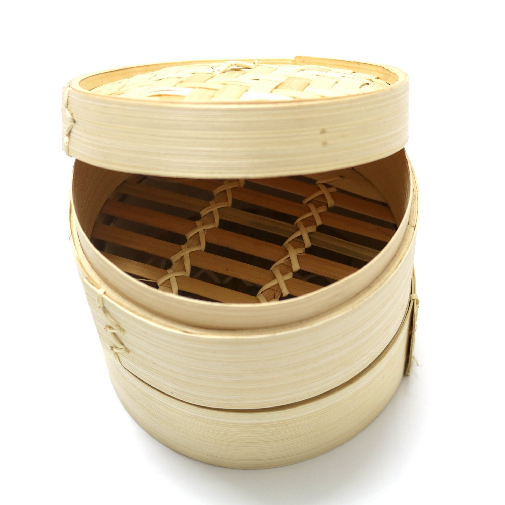 Best choice Two tier food bamboo steamer with solid cover