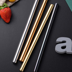 Customised Eco Reusable Stainless Steel Gold Drinking Travel Metal Straws With Case   Portable Golden Straws With Brush