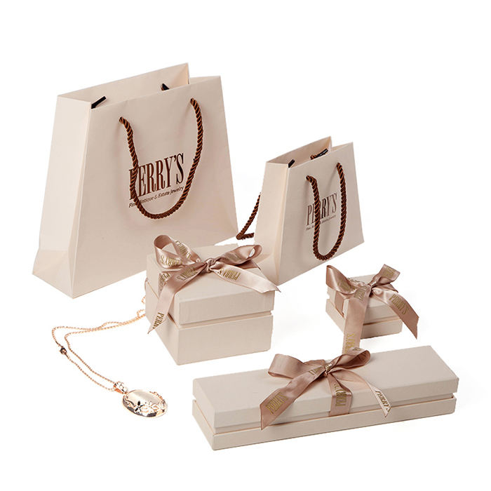 Ivory luxury jewelry top and bottom paper boxes cardboard bags high end packaging with custom logo