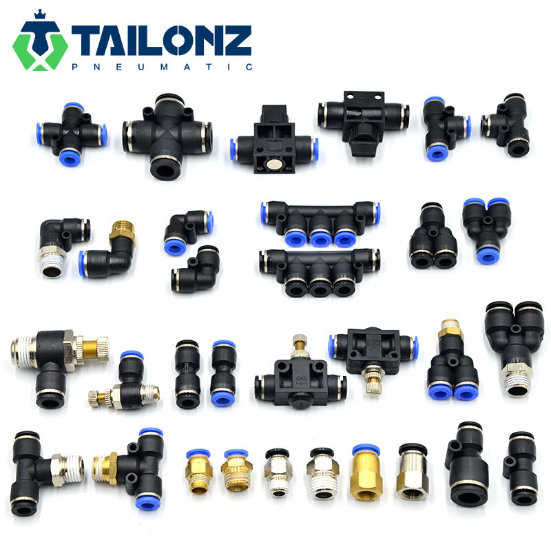 Tailonz Blue 4/6/8/10/12MM PT NPT Type Put One Touch Pipe Air Tube Connector Pneumatic Fitting Black 1/4 3/8 1/2 5/16