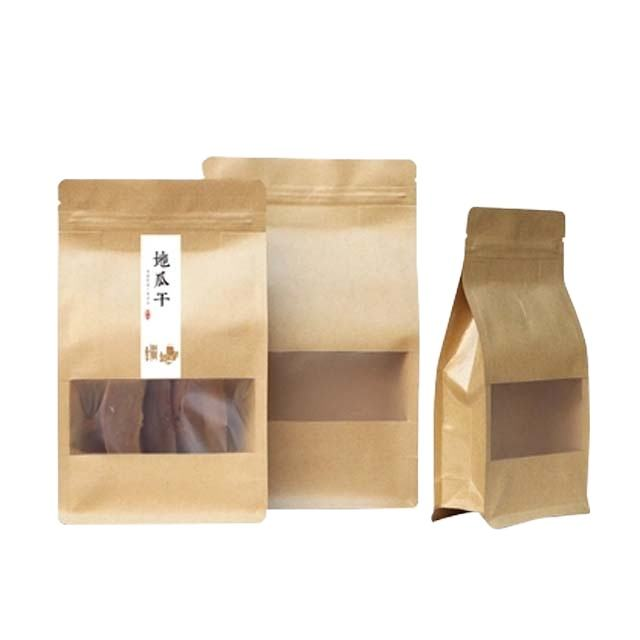 Wholesale Custom New Arrival Craft Brown Kraft Paper Food Zip Lock Vacuum Seal Bag