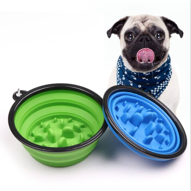 Portable Pet Dog Cat Prevent Choking Folding Bowl, Collapsible Silicone Bowls Dispenser Customized Pet Products Manufacturer