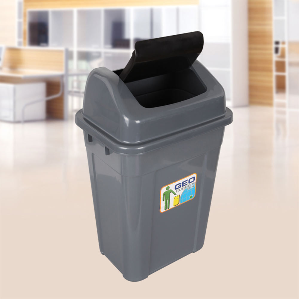 Black grey 13 gallon plastic trash can garbage bin dustbin