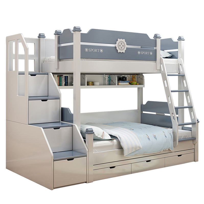 Factory Direct High Quality Bunk bed double Wood Bunk Bed Kids Wooden Bunk Bed Foshan
