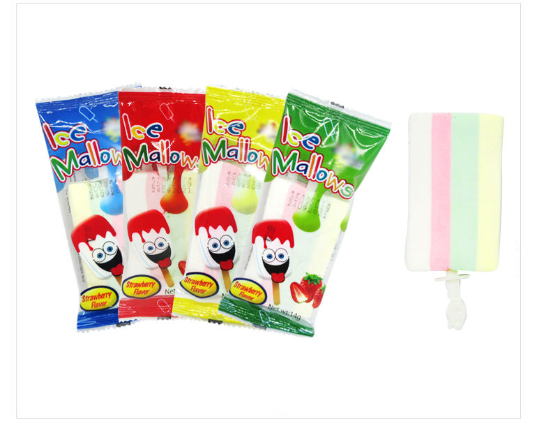 Halal ice cream shaped marshmallow lollipop candy
