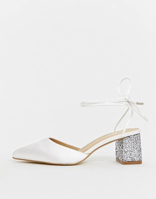Wholesale Ladies Sandals Be Mine Bridal Honor Ivory Satin Glitter Mid Heeled Shoes