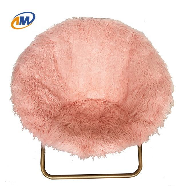 Living Room Furniture Folding Faux Fur Moon Chair With Metal Frame