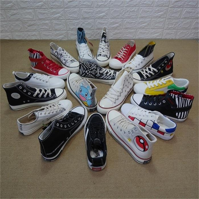 MH8221 wenzhou dongheng A lot of mix printed Vulcanized canvas used shoes stock