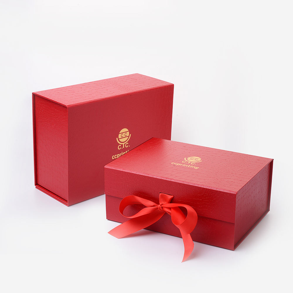 Custom Logo Luxury Full Dress Red Paper Cardboard Magnetic Folding Gift Box With Ribbon Closure