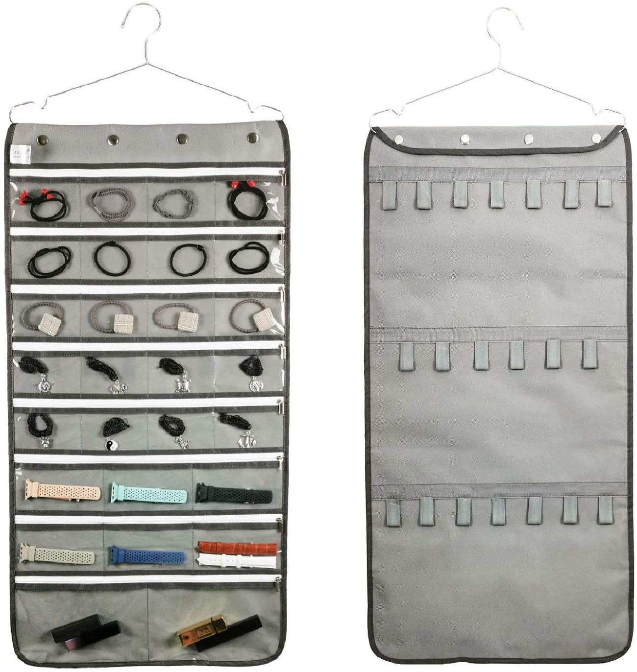 Zippered Jewelry Organizer Dual Sided Hanging with Hanger for Travel Home Closet Storage