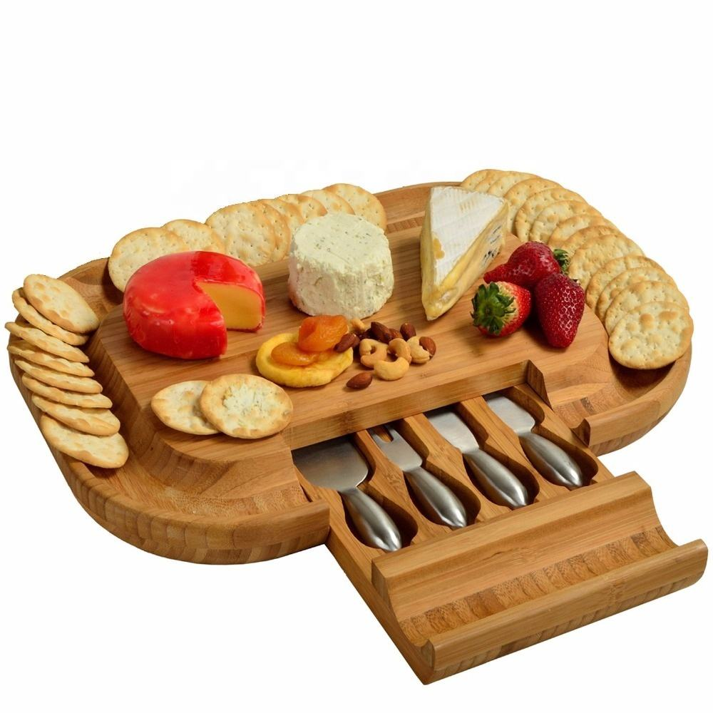 Wholesale Natural Bamboo Cheese Cheese Board & Cutlery Set with Slide-Out Drawer Charcuterie Platter with Stainless Steel Knives