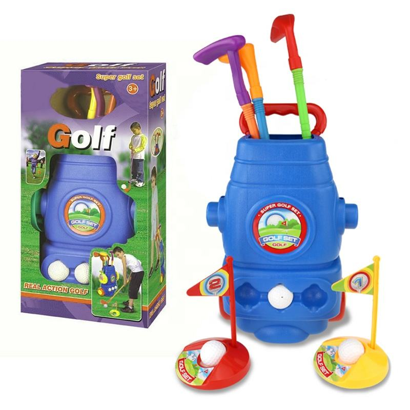 kids plastic sports game playing kids golf set toy with 3 balls