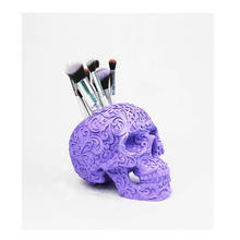 Resin skull head cosmetic makeup brush holder