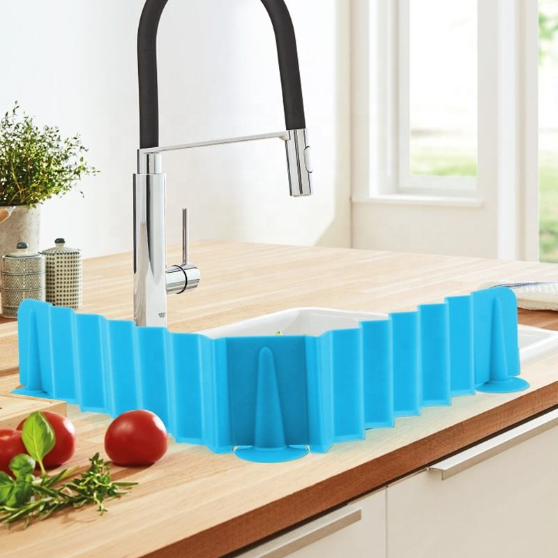 Upgraded Stretchable Silicone Sink Water Splash Guards Baffle for Home Products Kitchen Bathroom