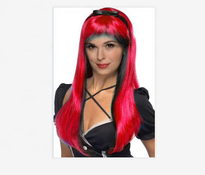 WITCH WIG RED & BLACK COLOUR