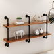 Antique wooden simple bookshelf industrial iron pipe Floating mounted hanging diy wall shelf for home partition storage rack