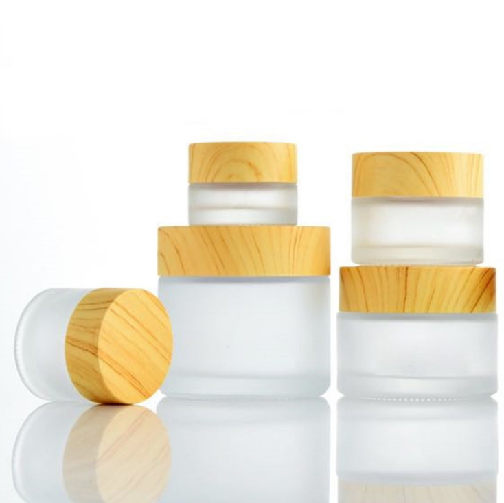 Whosale Wood Grain Lid Makeup Cosmetic Cream Containers Transparent Frosted Glass Jar