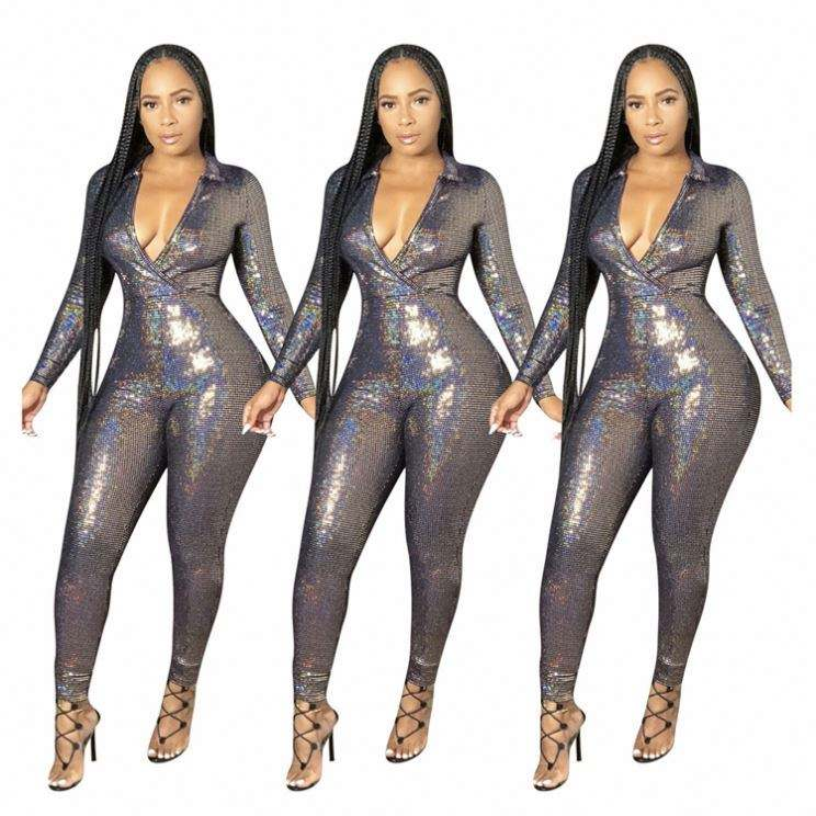New Style Jumpsuit Women Fashion Sexy V Neck Shiny Design One Piece Jumpsuits Clothing Women Jumpsuits And Rompers