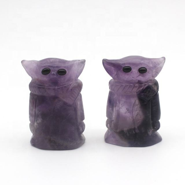 wholesale Natural Crystal Hand crafts amethyst Crystal baby Yoda amethyst For gifts