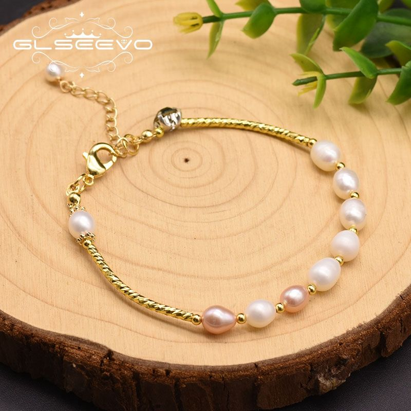 GLSEEVO Natural Fresh Water Baroque Pearl Bracelets For Women Wedding Bracelets & Bangle Fine Jewelry Bracelet Perle GB0052