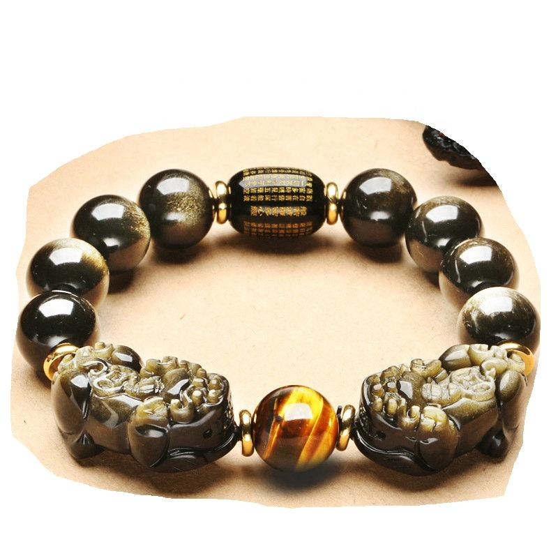 High quality Natural Gold Obsidian Crystal double Pi Xiu Bracelets 10mm