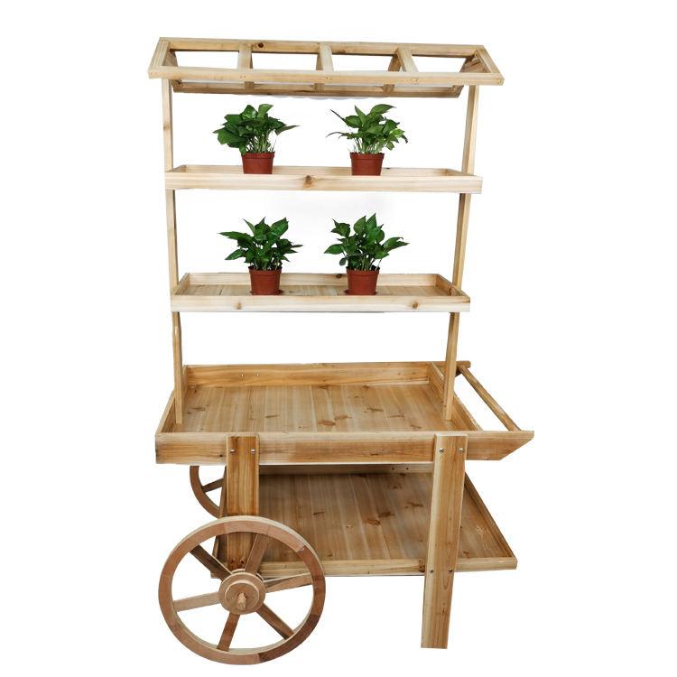 Casa jardín decoración al aire libre Patio Carro de madera flor maceta jardinera con ruedas Jardín de planta de flor carro