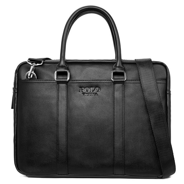 VICUNA POLO Brand 2020 Fashion Casual Business Handbag Wholesale Black Leather Briefcase Men's Tote Bag Laptop Briefcase