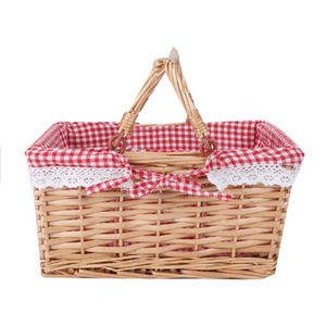 Cheap price Willow basket Handle Wicker Basket Natural Customized Folk wicker picnic basket