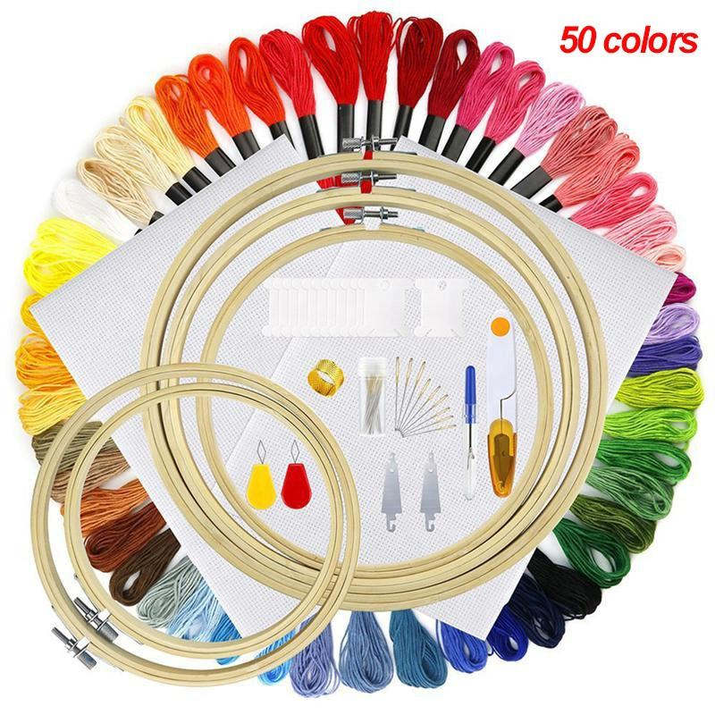 108 PCS DIY Hand Embroidery Starter Needle Set Bamboo Cross Stitch Embroidery Hoops Kits