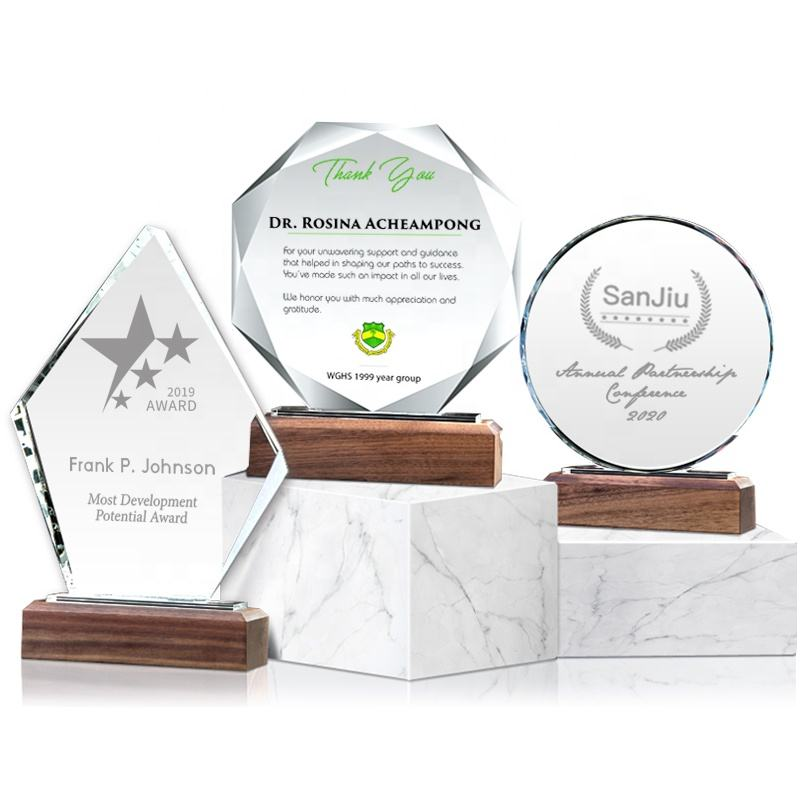 2020 Newest Custom Crystal Trophy Wooden Awards For Corporate Gift Set