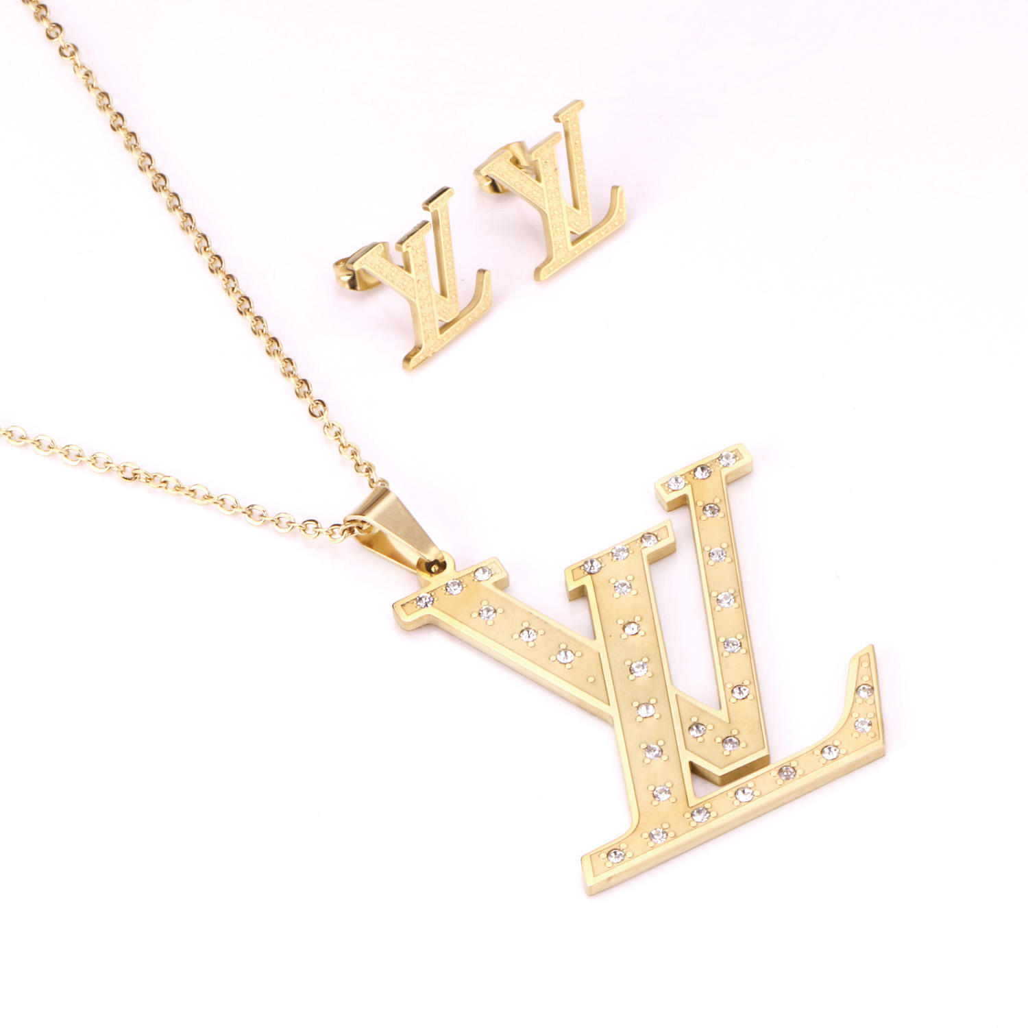 High Quality Cheap Brand Dubai Gold Plated Stainless Steel Pendant Necklace Earrings Jewelry Set For Women