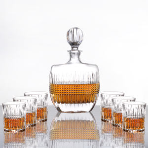 Atacado cristal copos de uísque vodka whiskey wine decanter set