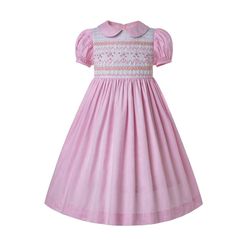 CUSTOM MADE Pettigirl Pink Baby Dress Smocked With Short Sleeves By Hand make Girls Dresses for Casual Occasions