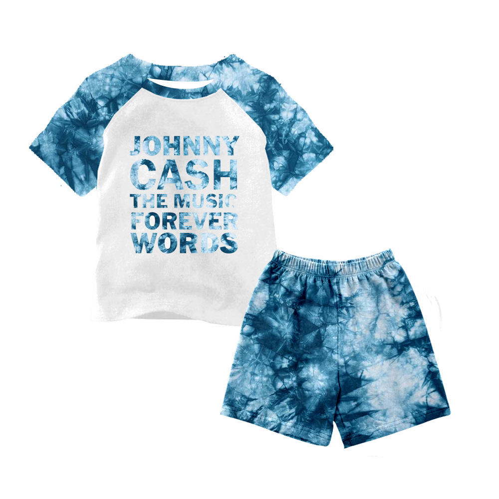 Fashion summer baby boy clothing sets johnny cash shirt tie-dye short pants 2pcs outfits kids boy clothes sets