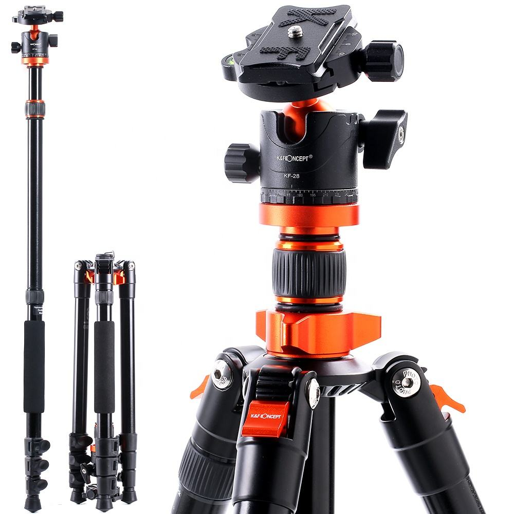K&F Concept DSLR Camera Tripod Lightweight Aluminum Monopod Tripod with 360 Panorama Ball Head for Travel and Work