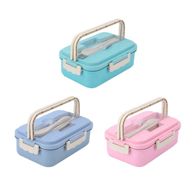 Eco Friendly Custom Lunch for Kids School Children Plastic Wheat Straw Bento Box