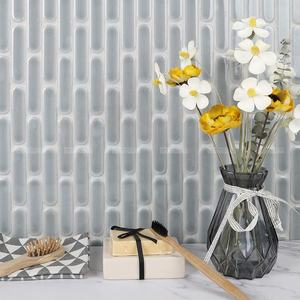 Premium Glossy Glazed Long Oval Shape Wall Gray Porcelain Tile Mosaic For Modern Backsplash Bathroom Kitchen Commercial Project