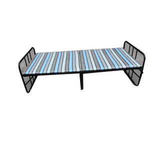 2019 neue Produkt Großhandel Schule Metall Eisen Stahl Klapp Einzigen Bett Rahmen Camping Armee Bett Mit Stoff Matratze