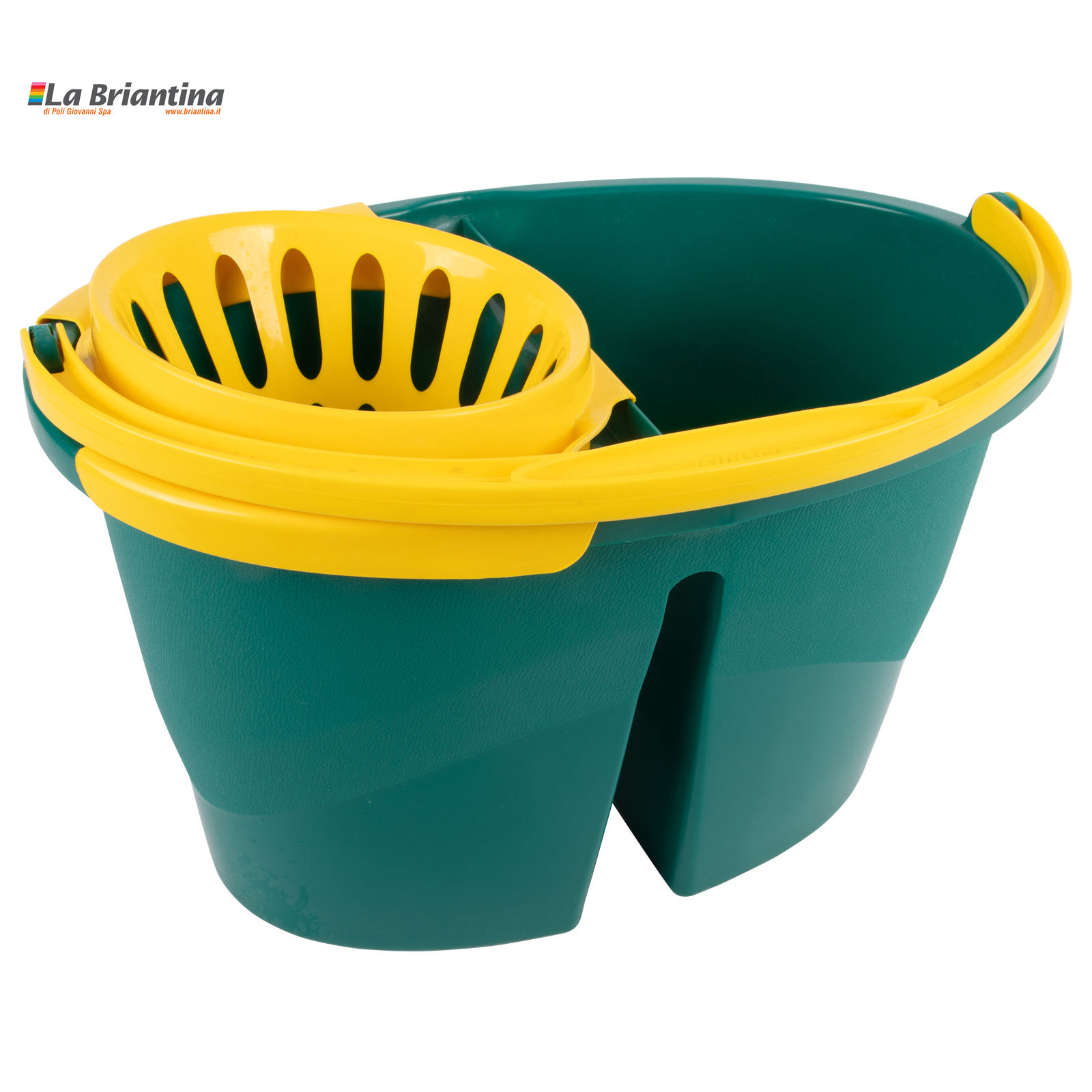 Plastic bucket with two tanks (8 + 8 liters) with wringer. Plastic handle