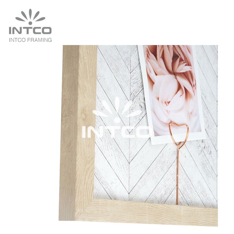 INTCO Record Message Pink Clips Change Photo or Tips Iron-Board Wood Color Framed Memo Board Photo Frame and Art Frame