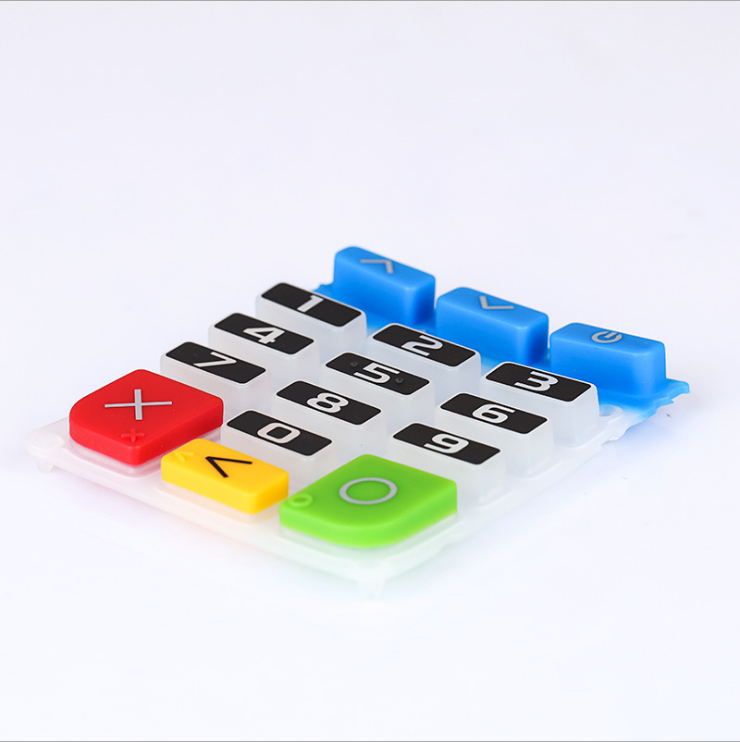 customized print silicone keypads buttons several color silicone keyboard phone button the mobile POS machine keypad
