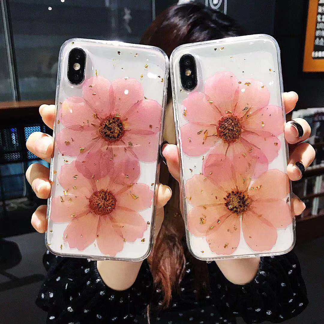 Handmade epoxy phone cover for iPhone 7 8 plus X/XS max Xr dried flowers glitter tpu case, real flower phone case for iPhone