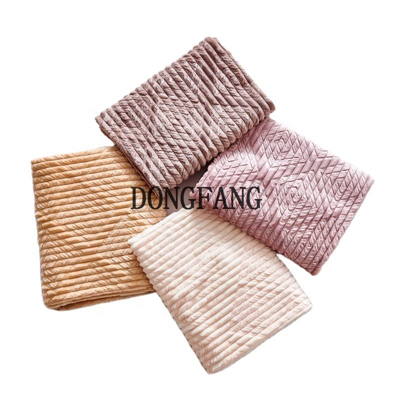 DONGFANG Cheap Polyester Striped Jacquard Fabrics Embossed Flannel Baby Fabrics